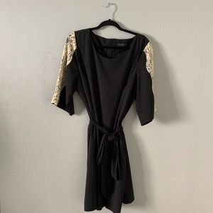 Eloquii black dress with tie